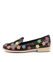 AMAYA Flats in Bright Multi Flowers/ Black Leather