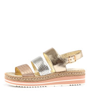AKIDNA Flatform Sandals in Pale Gold/ Silver/ Multi Leather