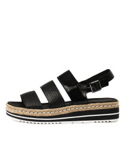 AKIDNA Flatform Sandals in Black/Mix Leather