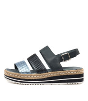 AKIDNA Flatform Sandals in Blue/ Lt Blue/ Multi Leather