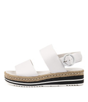ATHA Flatform Sandals in White Leather