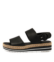 ATHA Flatform Sandals in Black Leather