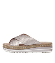 ADEEMUS Flatform Sandals in Rose Metallic Embossed Leather