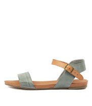 JINNIT Sandals in Steel/ Tan Leather