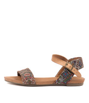 JINNIT Sandals in Tan/ Aztec Leather