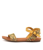 JINNIT Sandals in Yellow/ Aztec Leather