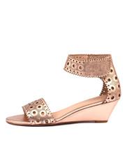 MCKENNA Wedge Sandals in Rose Gold Leather