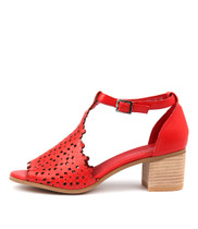 DRESSIE Heeled Sandals in Red Leather