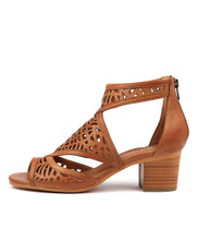 BEREOTO Heeled Sandals in Dark Tan Leather