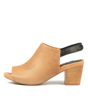 ZOOKY Heeled Sandals in Tan/ Black Leather
