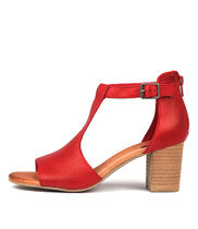 SORELY Heeled Sandals in Red Leather