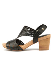 ZOLLIE Heeled Sandals in Black Leather