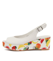 SEREALYS Platform Sandals in White Leather/ Fruit Fabric
