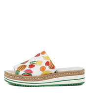 APPLETINI Flatforms in White Fruit Salad Leather