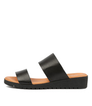 MAYRA Flatform Sandals in Black Leather