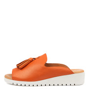 MAYSON Flatform Sandals in Orange Leather