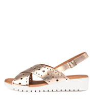 MELIZA Flatform Sandals in Rose Gold Leather