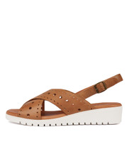 MELIZA Flatform Sandals in Dark Tan Leather