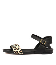 JINNIT Sandals in Ocelot Pony/ Black Leather