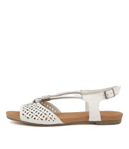 JOBINASS Sandals in White/ Silver Leather