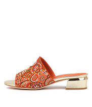 TAMMY Heeled Sandals in Orange Suede