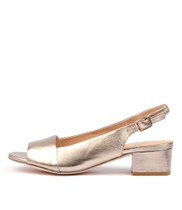 RANDOT Heeled Sandals in Champagne Leather