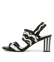 NEARLYS Heeled Sandals in Black/ White Leather