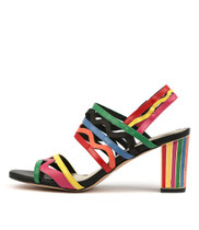 NEARLYS Heeled Sandals in New Bright Multi Leather