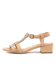 ROENATA Heeled Sandals in Nude Leather