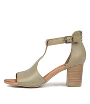 SORELY Heeled Sandals in Khaki Leather