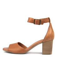 SHERWIN Heeled Sandals in Dark Tan Leather