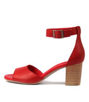 SHERWIN Heeled Sandals in Red Leather