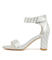 GWENDI Heeled Sandals in Silver/ White Leather