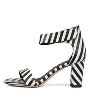 GWENDI Heeled Sandals in Black/ White Leather