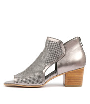 MINOA Heeled Sandals in Pewter Leather