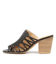 WILBUR Heeled Sandals in Black Leather