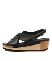 DAMARI Platform Sandals in Black Leather