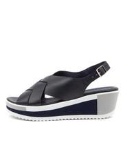 DAMARI Platform Sandals in Navy Leather