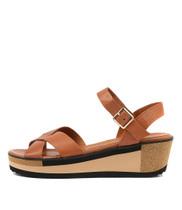 DENITA Platform Sandals in Tan Leather