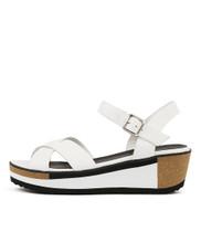 DENITA Platform Sandals in White Leather