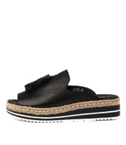 AYDEN Flatform Sandals in Black Leather
