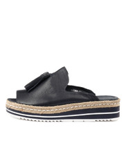 AYDEN Flatform Sandals in Navy Leather