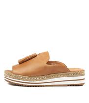 AYDEN Flatform Sandals in Tan Leather