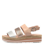 AKIDNA Flatform Sandals in Nude/ Champagne Leather