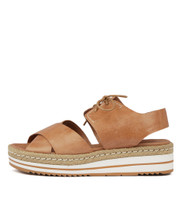 AVIE Flatform Sandals in Dark Tan Leather