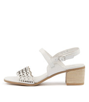 DENZEL Heeled Sandals in White Leather