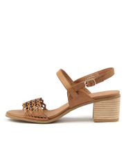 DENZEL Heeled Sandals in Tan Leather