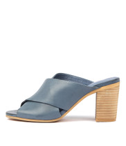 VEVA Heeled Sandals in Deep Blue Leather