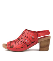 ZARIAH Heeled Sandals in Red Leather