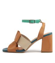 RENARD Heeled Sandals in Dark Tan/ Multi Leather